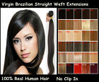 100% Indian Remy Human Hair Extension Weft Straight Hair piece #1B Natural Black