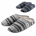 Mens Comfy Fairisle Slip On Mule Slippers Non-Slip Sole & Faux Sheepskin Lining