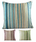Luxury Chenille Pin Stripe Cushion Covers 18x18 & 22x22 Green - Blue - Wine