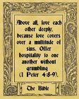 A4 Parchment Poster Bible Quote Quotation - MULTITUDE - Greetings Card Available