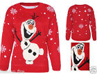 WOMENS LADIES GIRLS SNOWMAN OLAF FROZEN KNITTED CHRISTMAS JUMPER WITH 3D NOSE
