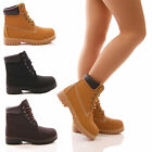LADIES WOMENS FLAT ANKLE BOOTS LACE UP CASUAL WALKING COMBAT GRIP SHOES SIZE