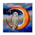 Ceramic Tile or Framed Tile Bird 69 Owl Moon fantasy art painting by L.Dumas