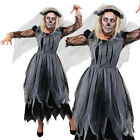 LADIES CORPSE BRIDE DRESS BLACK ZOMBIE HALLOWEEN FANCY DRESS DEAD GHOST COSTUME