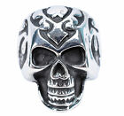 Wide Ring Stainless Steel Men's Fancy Punk Skull Head Shield Charm Mothers Day