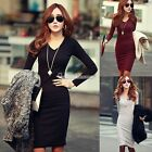 Women's Party Long Sleeve V-Neck Knit Cocktail Casual Pencil Dress M L XL SH