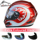 LEOPARD Full Face Motorcycle Motorbike Helmet Red Graphic + Extra Coloured Visor