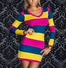Multicolor Sexy V-Neck Long Sleeve Striped Pencil Bodycon Mini Club Dress Tops