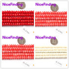 """Rondelle Coral White Orange Red Faceted Stone Beads Jewelry Making 15""""4x6mm"""