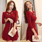 Sexy Autumn Winter Women Bandage Evening Party Cocktail Skater Flared Mini Dress