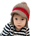 New Girls Boy Winter Warm Earmuffs Hat Bobble Ball Knit Kids Beanie Children Cap
