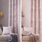 Catherine Lansfield Skandi Leaves Leaf Lined 66x72 Ring Top Eyelet Curtains