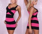 Women's Night Club Sexy Spaghetti Strap Striped Bodycon Stretch Mini Dress