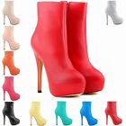 High Heels Winter Boots PU Leather Work Platform Shoes UK Size 2 3 4 5 6 7 8 9