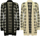 NEW LADIES PEACE PRINT OPEN LONG SLEEVE KNITTED BOYFRIEND CARDIGAN SIZE 6-12