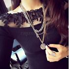 Womens Off Shoulder Embroidery Lace Long Sleeve Slim T Shirt Tops Blouse Sweater