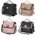 Womens Designer Faux Leather Shoulder Satchel Tote Studs Handbag Bag