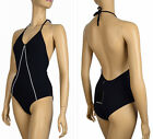 $330 YVES SAINT LAURENT YSL SWIMSUIT ONE PIECE OPEN BACK BLACK & WHITE sz 40