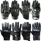 Leather Motorcycle Motorbike Biker Gloves Short Cowhide Knucles Protection