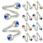 2P Spiral barbell twist eyebrow bar ring tragus steel gem 9EBO-SELECT COLOR&SIZE