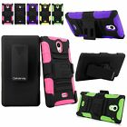 For Sharp Aquos Crystal 306SH Hybrid Armor Rugged Belt Clip Kickstand Case Cover