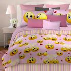 Emoji Hearts Comforter Set Pink and Yellow - Choose Queen, Full or Twin Sizes