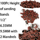 "100pcs Sanding Bands Sleeves & 2 Mandrels For DREMEL Rotary Kit 1/2"", 6.35 9.5mm"
