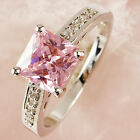 Free ship Princess Cut Pink&White Topaz Gems sterling Silver Ring SZ 7 8 Jewelry