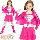 Pink Supergirl Girls Fancy Dress Superhero Superman Kids Costume Outfit 3-10 Y