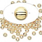 100 OR 1000 Gold Plated Brass Corrugated Round Metal Beads 3mm
