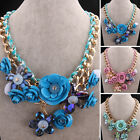 Flowers Pink Green Blue  Resin Stone Beads Gold Plated Bib Necklace