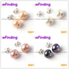 Round Pearl Earrings Fashion Jewelry Gold Planted Stud Chritams Gift 9-10mm