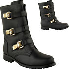 LADIES WOMENS ARMY COMBAT WORKER BIKER FLAT LACE UP GOLD BUCKLE ANKLE BOOTS SIZE