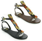 NEW WOMENS GLUV GLADIATOR FLAT BEADED JEWELLED BLACK BROWN SANDALS SIZE 4-8 UK