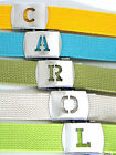 Military Canvas Style WEB Fabric Belt H to N INITIALED SILVER Metal Buckle