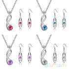 Hot Sale Womens Fashion Exquisite Crystal Pendant Necklace Earrings Jewelry Sets