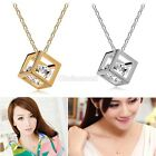 Magic Castle Cube Crystal Pendant Necklace Birthday Xmas Valentine Gifts for Her