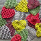 Multicoloured Jute Hessian Hearts For Rustic Shabby Chic Crafts
