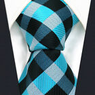 """Extra Long Size Ties 60.6"""" 63"""" P13 Blue Black Checked Mens Necktie 100% Silk New"""