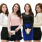 New Women Slim Fit T-shirt Floral Lace Bead Crew Neck Long Sleeves Blouse Tops