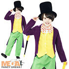 Willy Wonka + Hat Boys Fancy Dress Roald Dahl Character Kids Childrens Costume