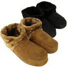 Mens Dunlop Ankle Boot Furry Slipper Bootee Faux Suede Warm Slippers Size 7-12