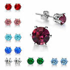 Fashion Women Jewelry Birthstone Gold Plated Cubic Zirconia Stud Earrings 5mm