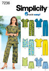 Sew & Make Simplicity 7236 SEWING PATTERN - Womens Wardrobe TOPS SHORTS PANTS