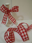 Country Gingham Check Retro Red & White Burlap feel - Luxury Wire Edged Ribbon