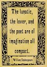 A4 Parchment Poster Quotation Shakespeare - Lunatic Lover - Greeting Card Optio