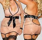 NWT Sexy Lingerie Chemise Babydoll Gowns Lace Garter Belt Stockings Plus Size XL