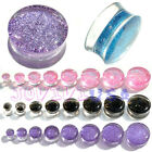 1pair Glitter Saddle Double Flared Ear Plug Flesh Tunnel Expander Stretcher 4C