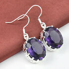 2017 New Coming Teardrop Blue Topaz Amethyst Gems Silver Women's Earrings 1 3/4""