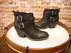 Sole Society Maris Black Leather Double Buckle Ankle Boot NEW